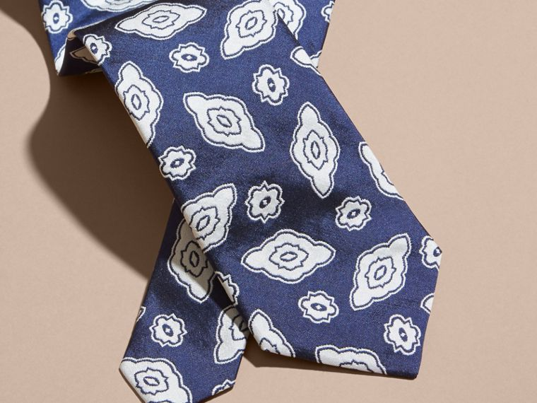 Brilliant blue Modern Cut Silk Geometric Jacquard Tie Brilliant Blue - cell image 1