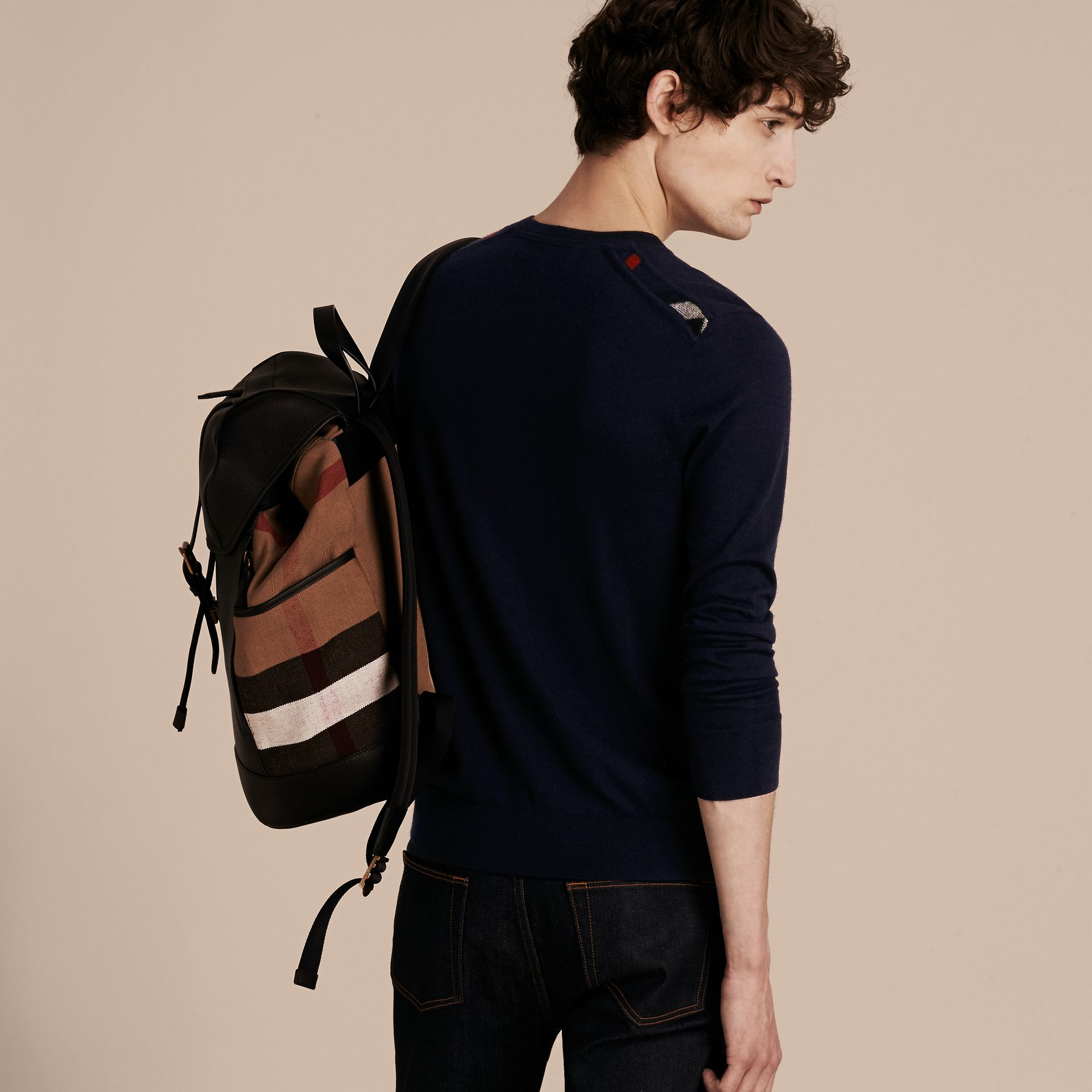 Check Jacquard Detail Cashmere Sweater in Navy - Men | Burberry Australia - gallery image 3
