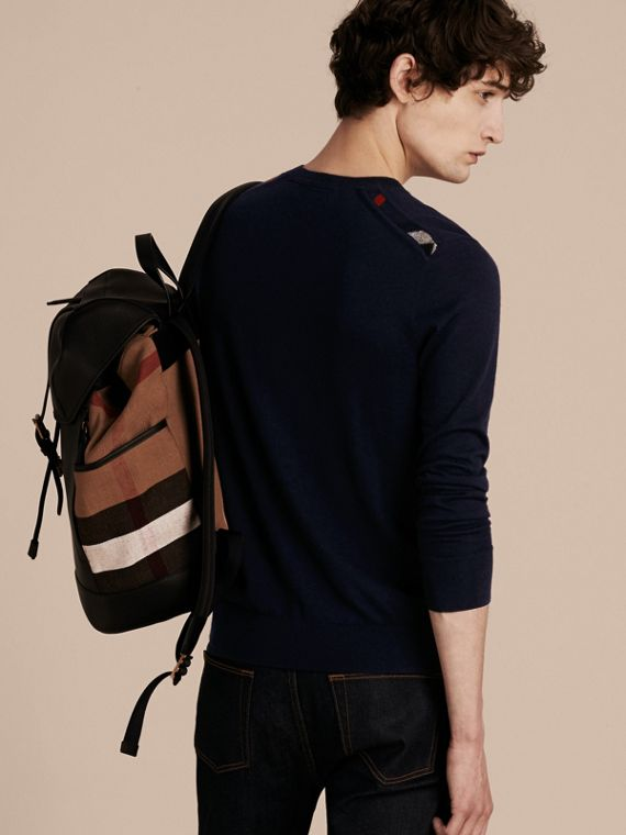 Check Jacquard Detail Cashmere Sweater in Navy - Men | Burberry Australia - cell image 2