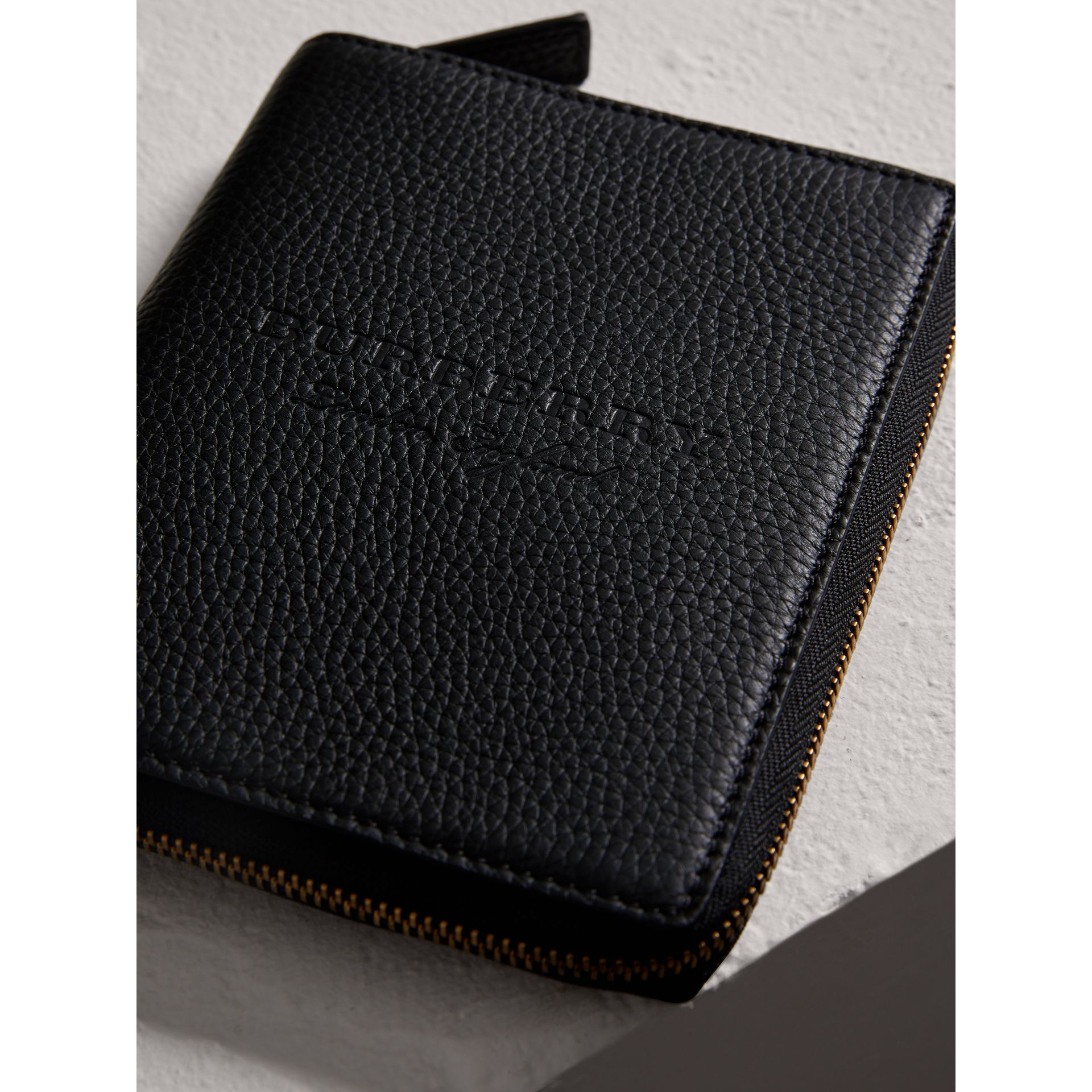 Embossed Grainy Leather Ziparound A6 Notebook Case in Black | Burberry Australia - gallery image 1