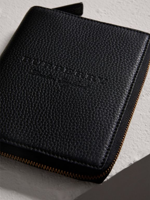 Embossed Grainy Leather Ziparound A6 Notebook Case in Black | Burberry - cell image 1