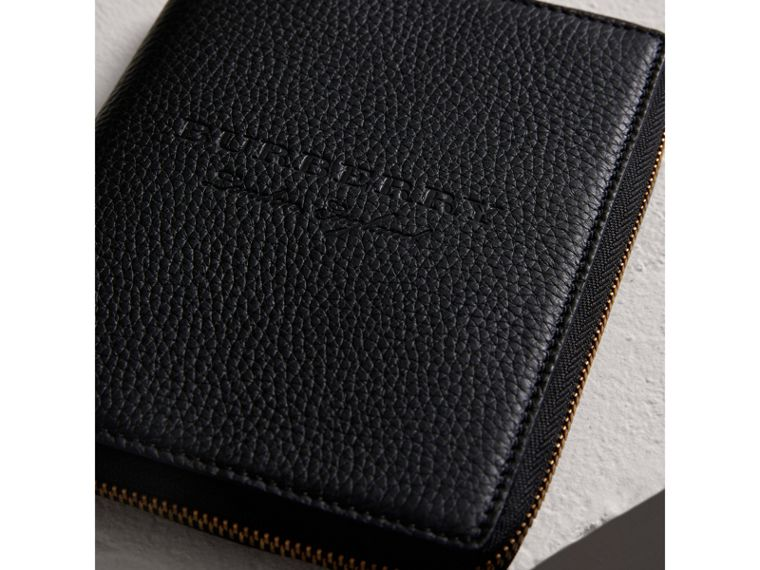 Embossed Grainy Leather Ziparound A6 Notebook Case in Black | Burberry Australia - cell image 1