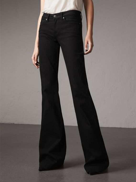 Flared Stretch Jeans in Black