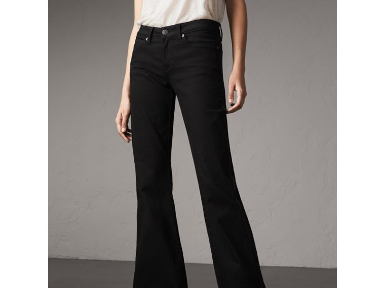 Flared Stretch Jeans in Black - Women | Burberry - cell image 4