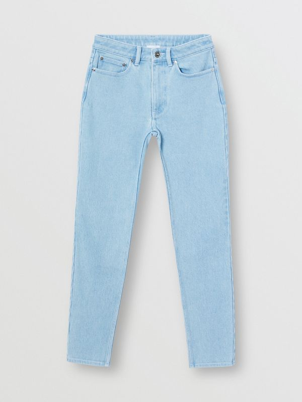 Skinny Fit Bleached Denim Jeans in Light Indigo - Women | Burberry - cell image 3