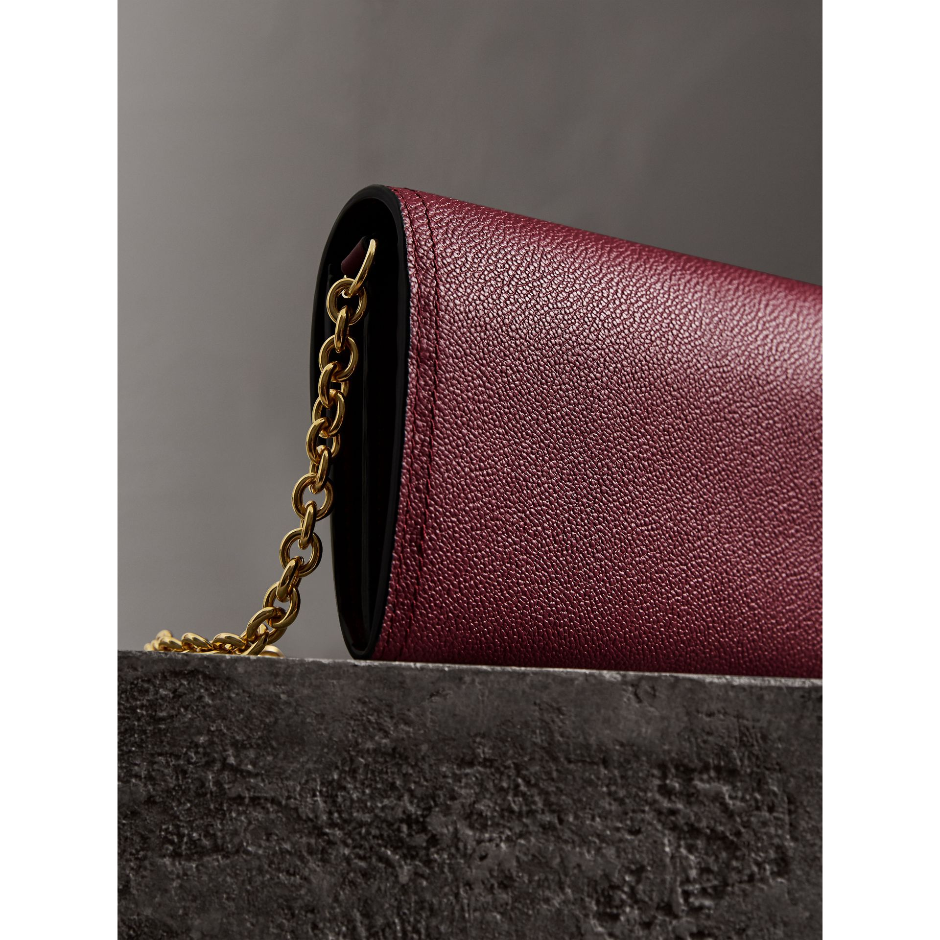 Leather Wallet with Chain in Dark Plum - Women | Burberry - gallery image 3