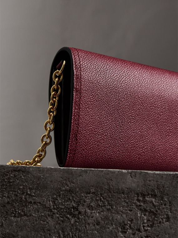 Leather Wallet with Chain in Dark Plum - Women | Burberry - cell image 3