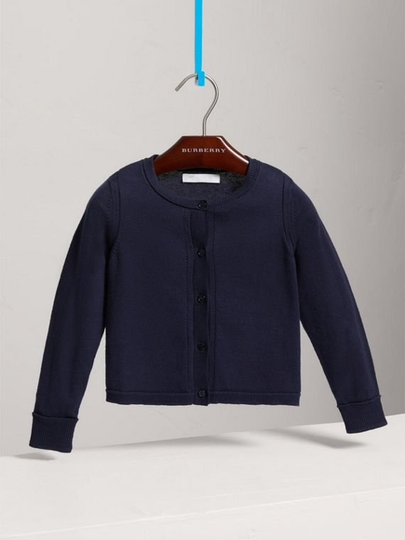 Check Cuff Cotton Knit Cardigan in Navy