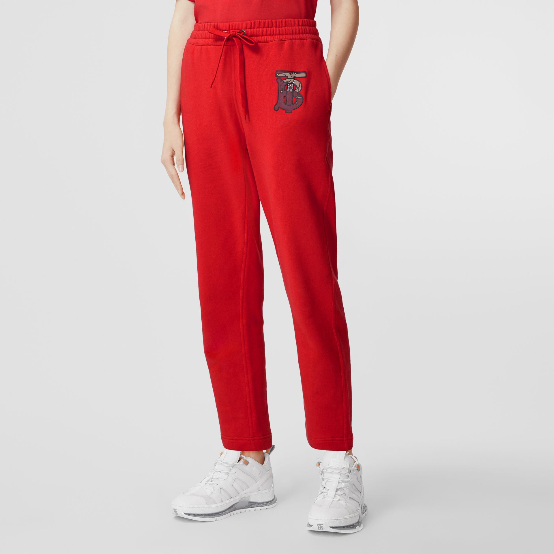 Monogram Motif Cotton Trackpants in Bright Red - Women | Burberry - gallery image 4
