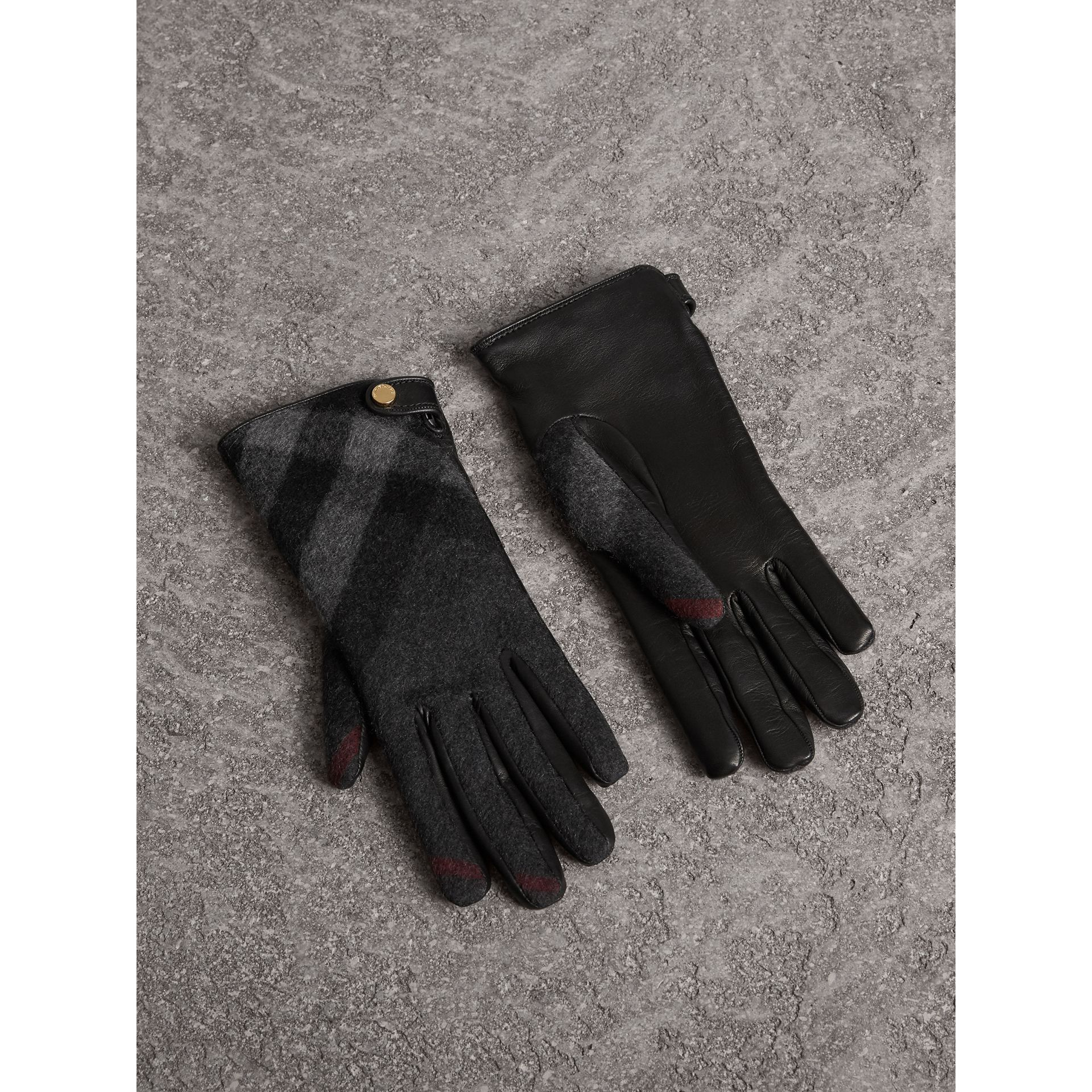 Leather and Check Cashmere Gloves in Charcoal - Women | Burberry United States - gallery image 1