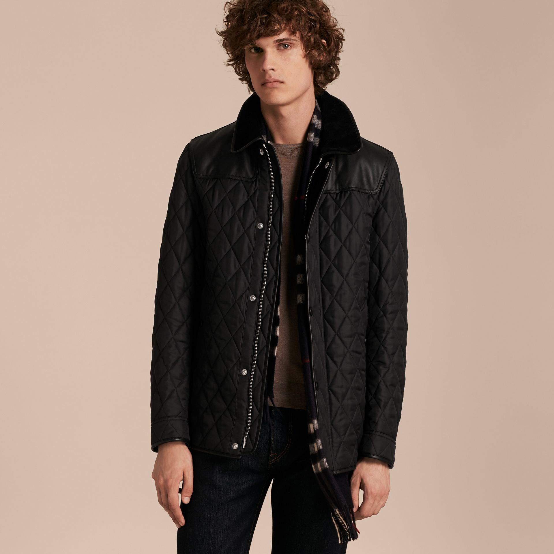Lambskin Yoke Diamond Quilted Jacket - gallery image 7