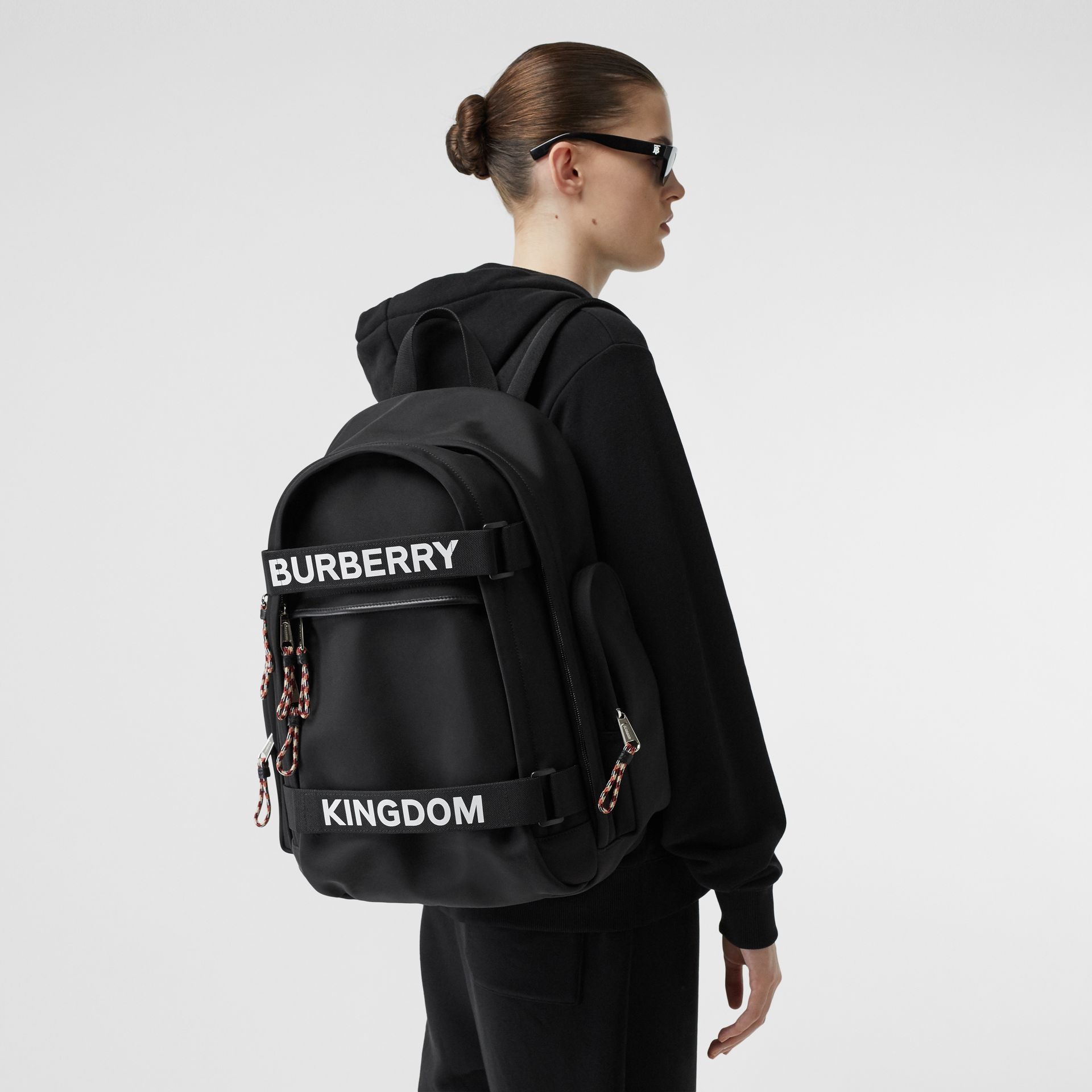 Large Logo and Kingdom Detail Nevis Backpack in Black/white | Burberry Hong Kong S.A.R - gallery image 2