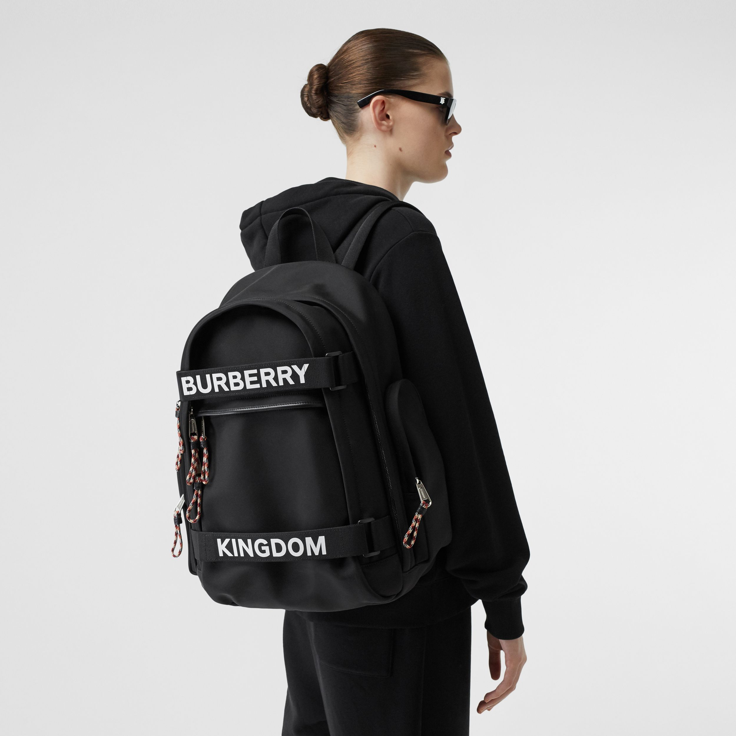 Large Logo and Kingdom Detail Nevis Backpack in Black/white | Burberry - 3