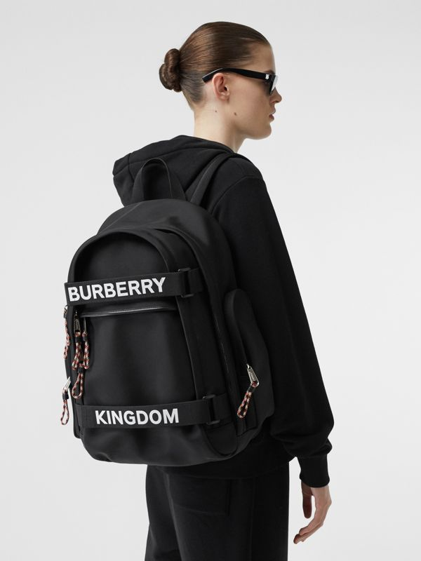 Large Logo and Kingdom Detail Nevis Backpack in Black/white | Burberry Hong Kong S.A.R - cell image 2