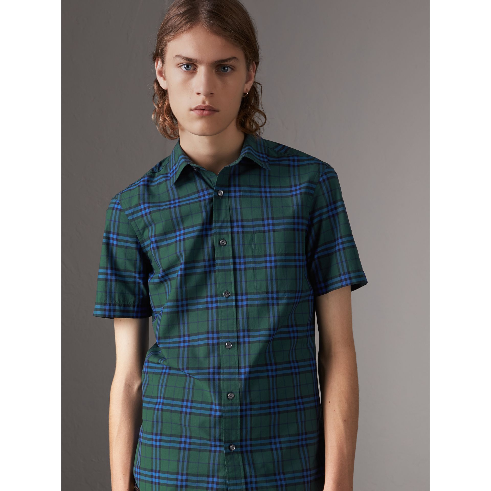 Short-sleeve Check Cotton Shirt in Forest Green - Men | Burberry Canada - gallery image 0