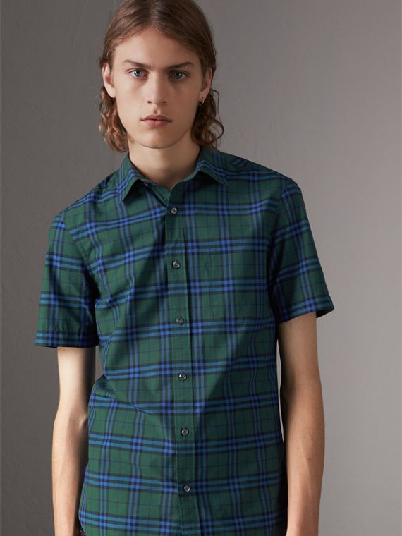 Short-sleeve Check Cotton Shirt in Forest Green