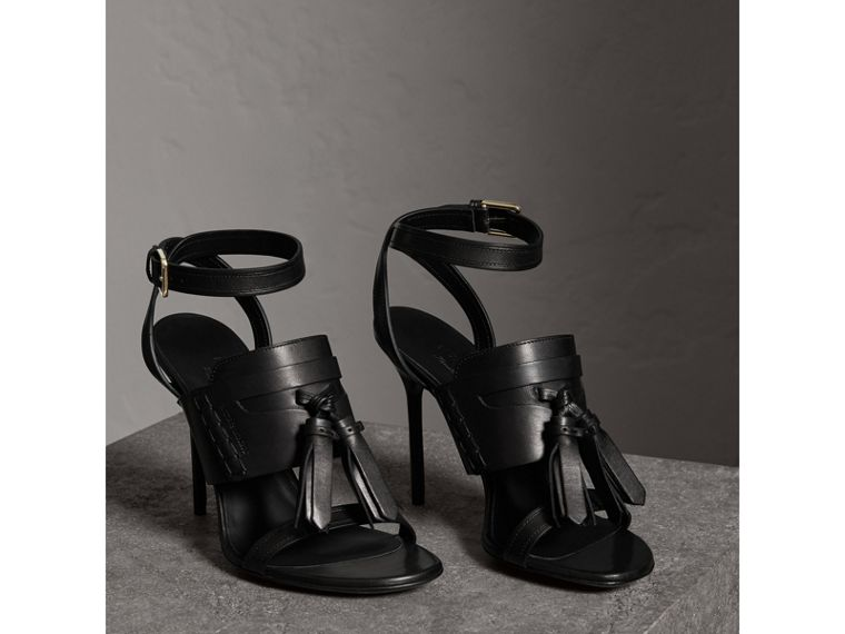 Tassel Detail Leather Sandals in Black - Women | Burberry - cell image 4
