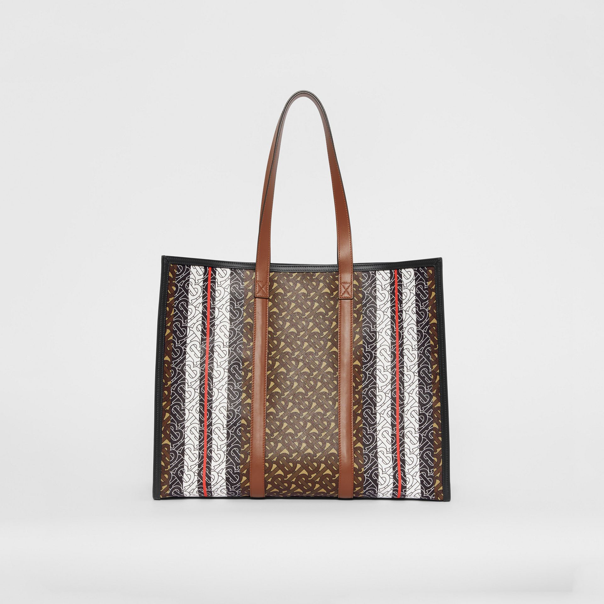 Monogram Stripe E-canvas Tote Bag in Bridle Brown | Burberry United Kingdom - gallery image 9