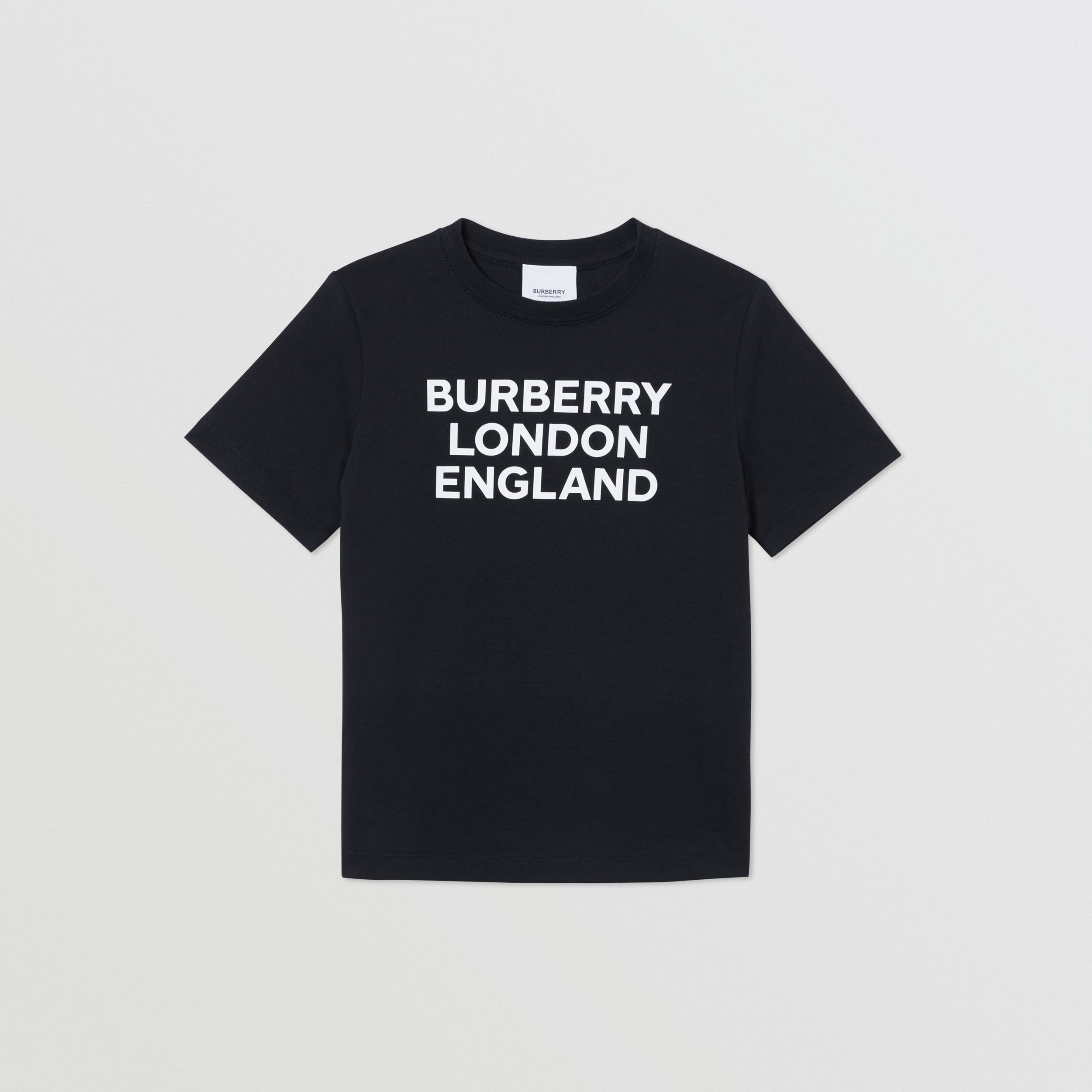Logo Print Cotton T-shirt in Black | Burberry - 1