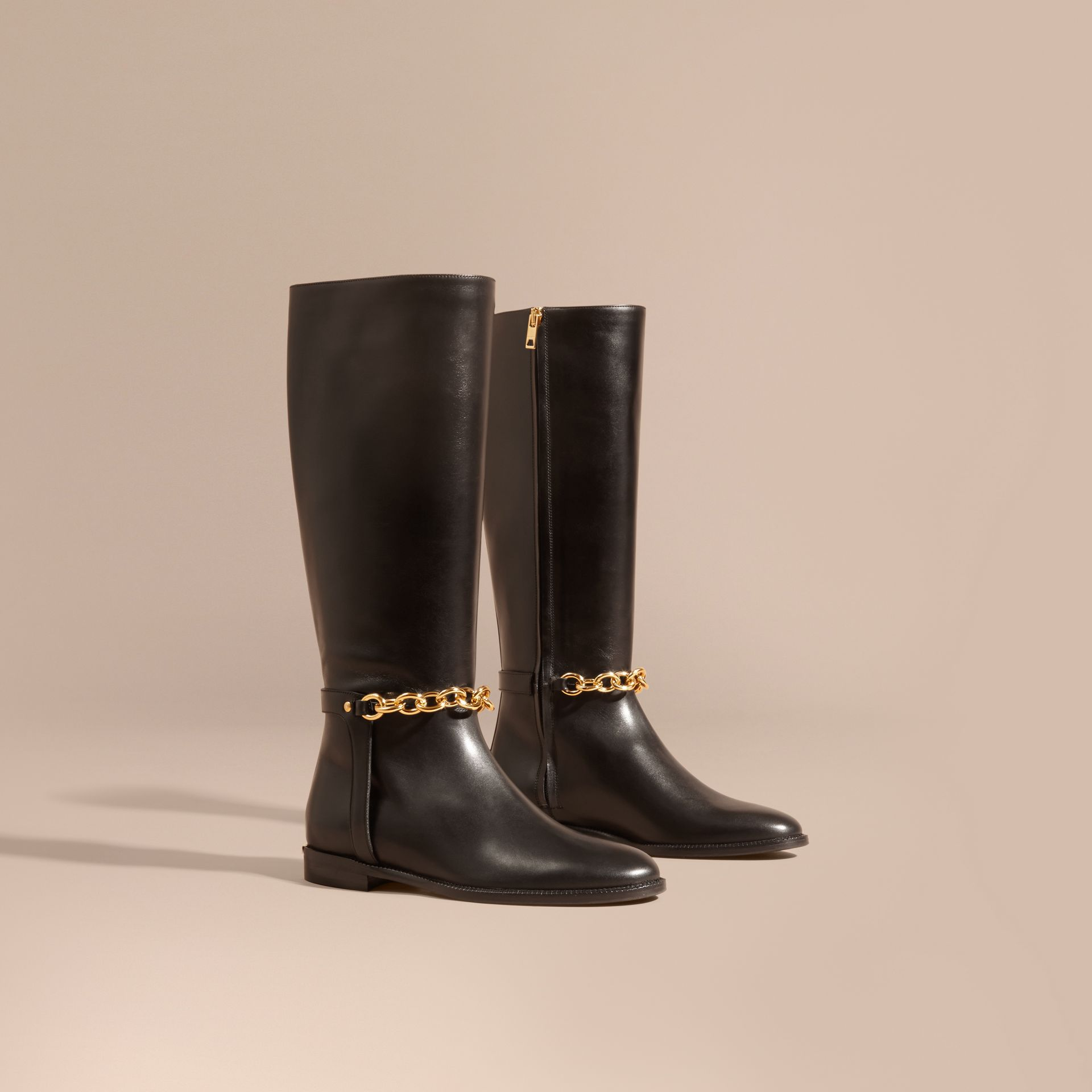 Black Chain Detail Leather Riding Boots - gallery image 1