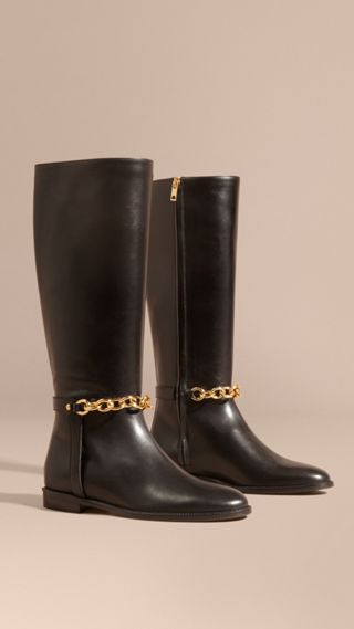 Chain Detail Leather Riding Boots