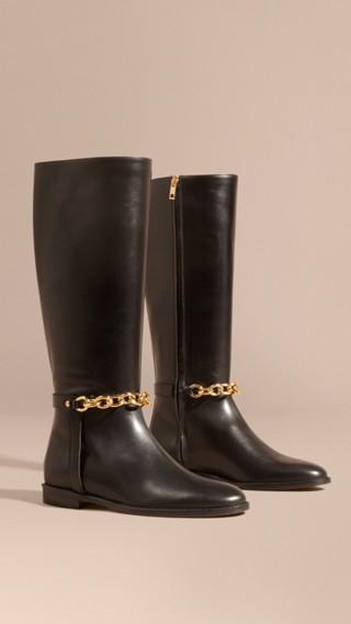 Stivali da equitazione in pelle con catena