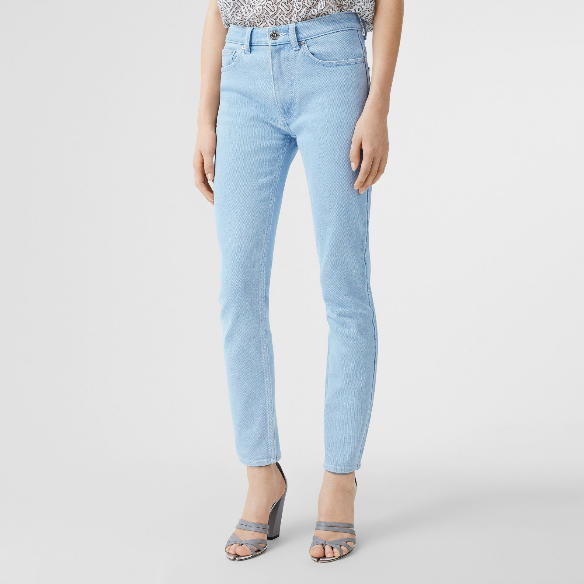 Skinny Fit Bleached Denim Jeans in Light Indigo - Women | Burberry - gallery image 4