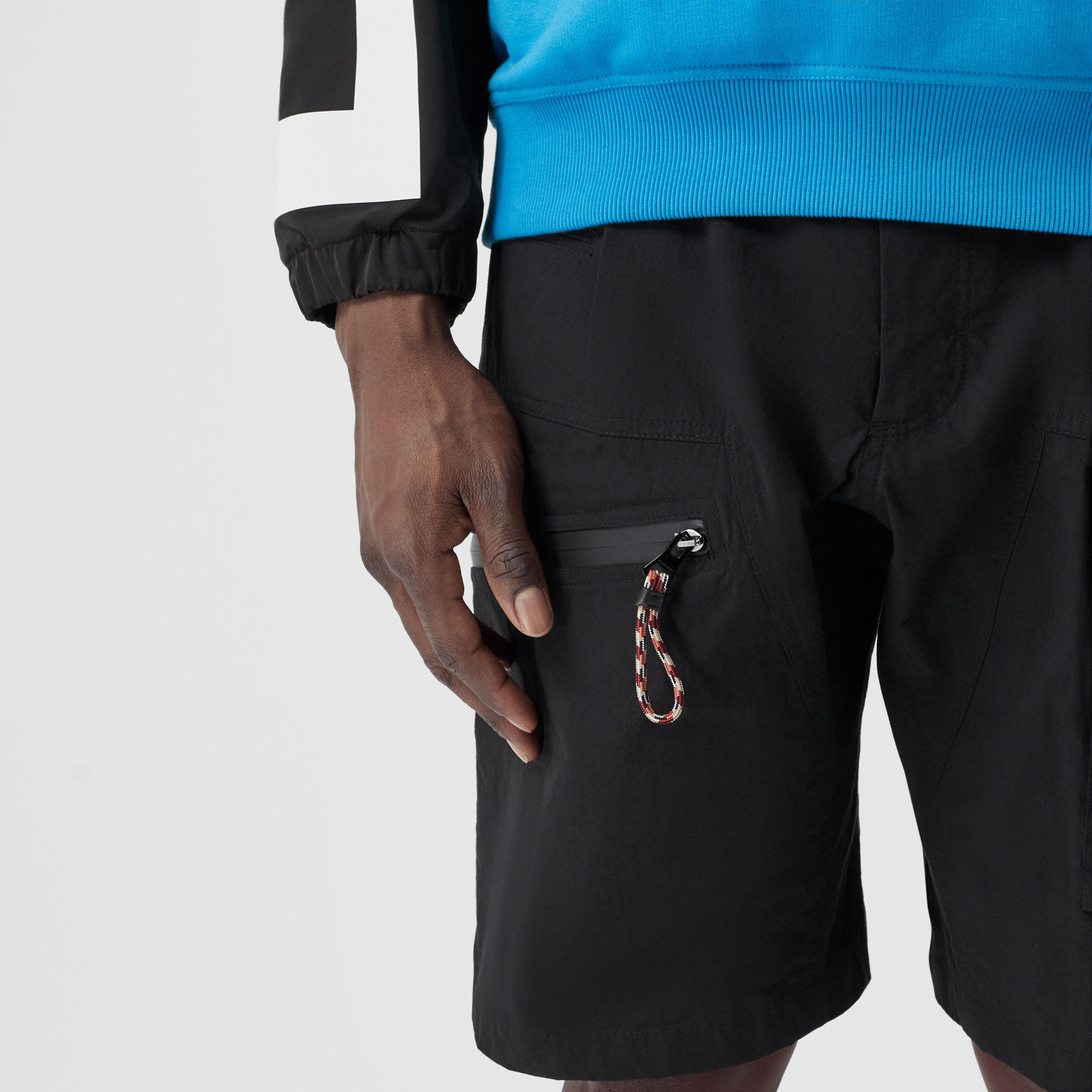 Logo Appliqué Cotton Blend Cargo Shorts in Black - Men | Burberry - 4
