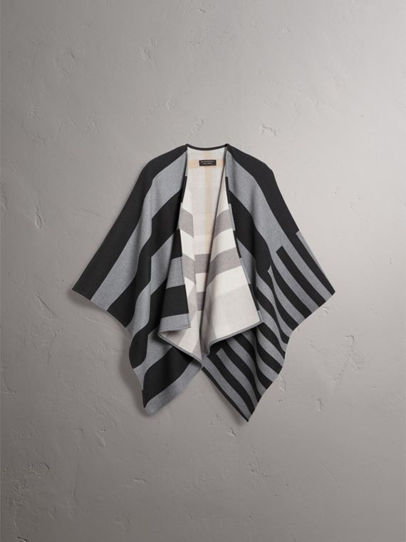 Reversible Stripe and Check Merino Wool Poncho in Grey - Women | Burberry - cell image 3