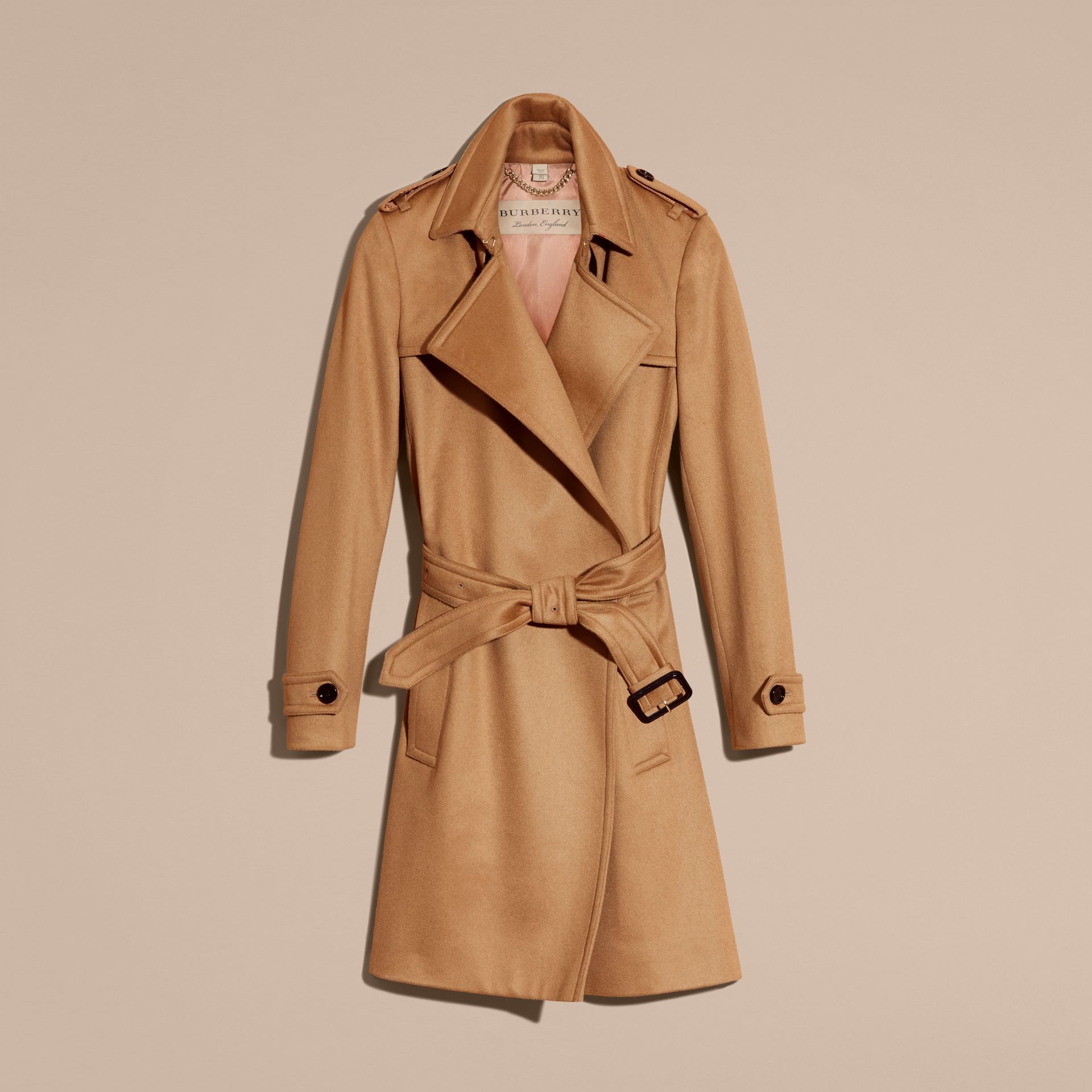 Cashmere Wrap Trench Coat Camel - gallery image 4