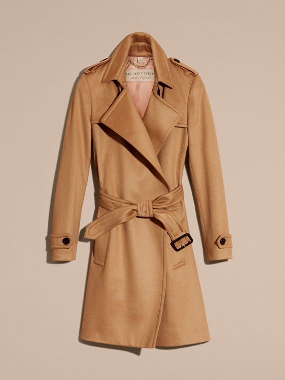 Cashmere Wrap Trench Coat Camel - cell image 3