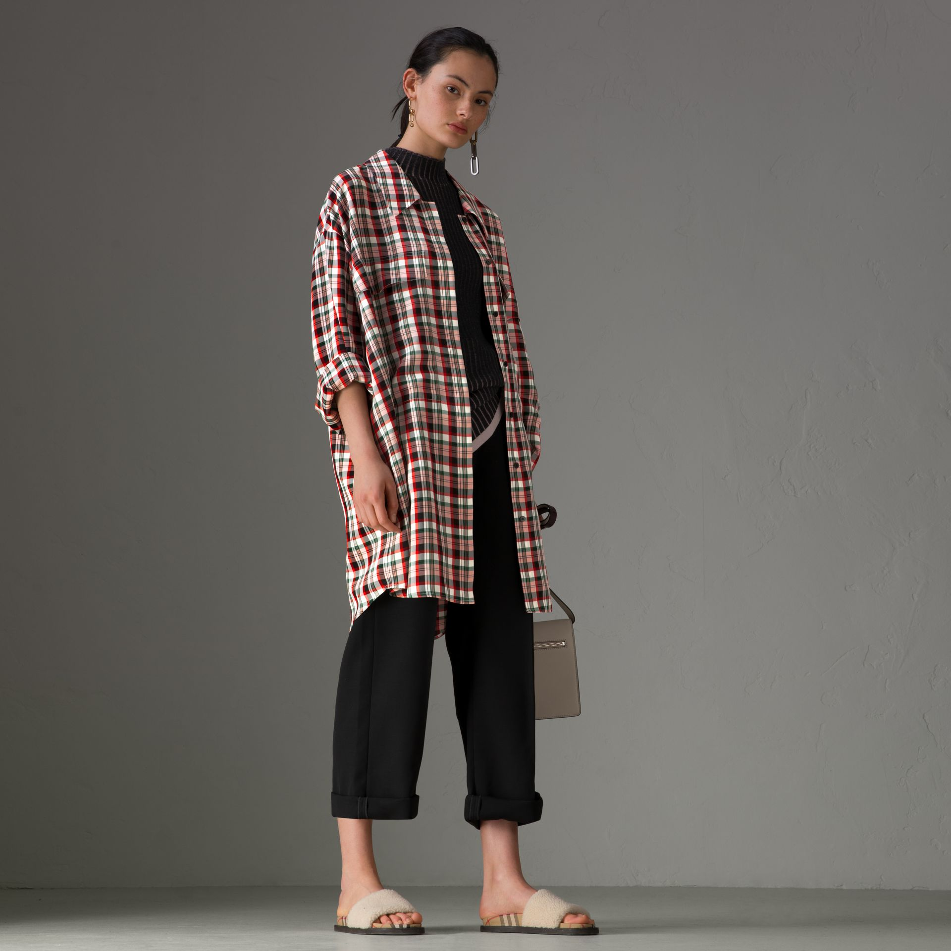 Small Scale Check Oversized Shirt in Bright Red - Women | Burberry United Kingdom - gallery image 0