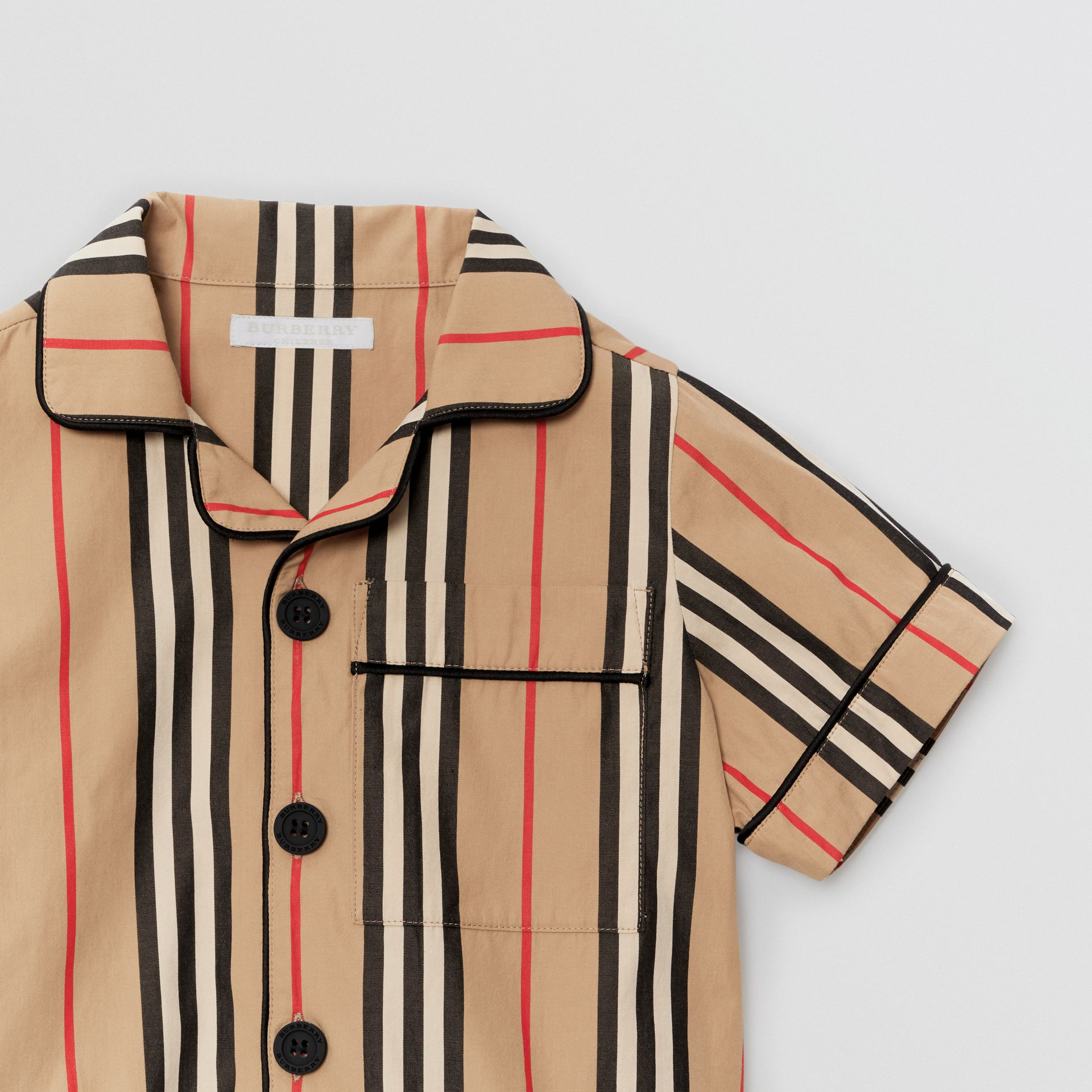 Short-sleeve Icon Stripe Cotton Poplin Shirt in Archive Beige | Burberry United Kingdom - gallery image 4