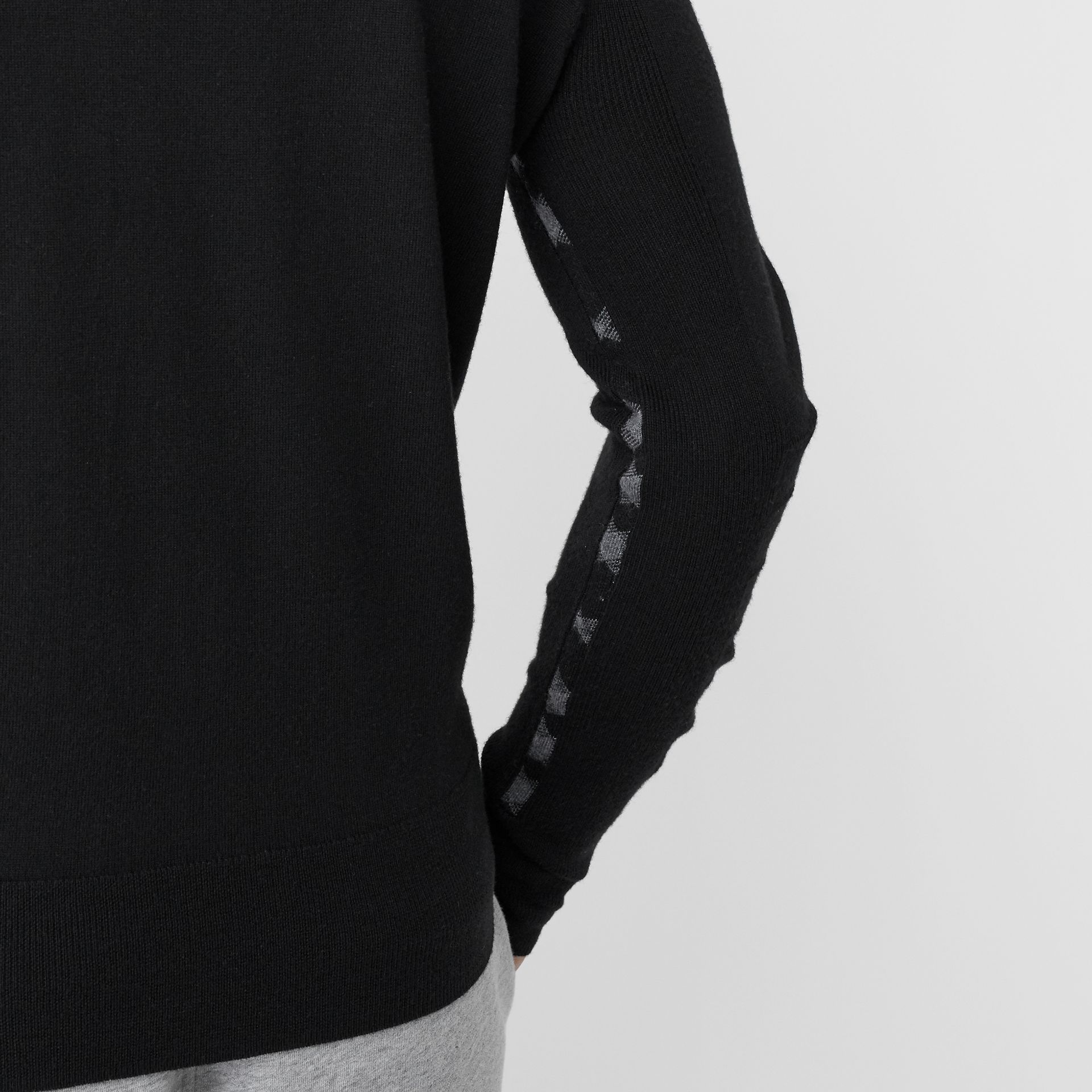 Check Detail Merino Wool Sweater in Black - Men | Burberry - gallery image 1