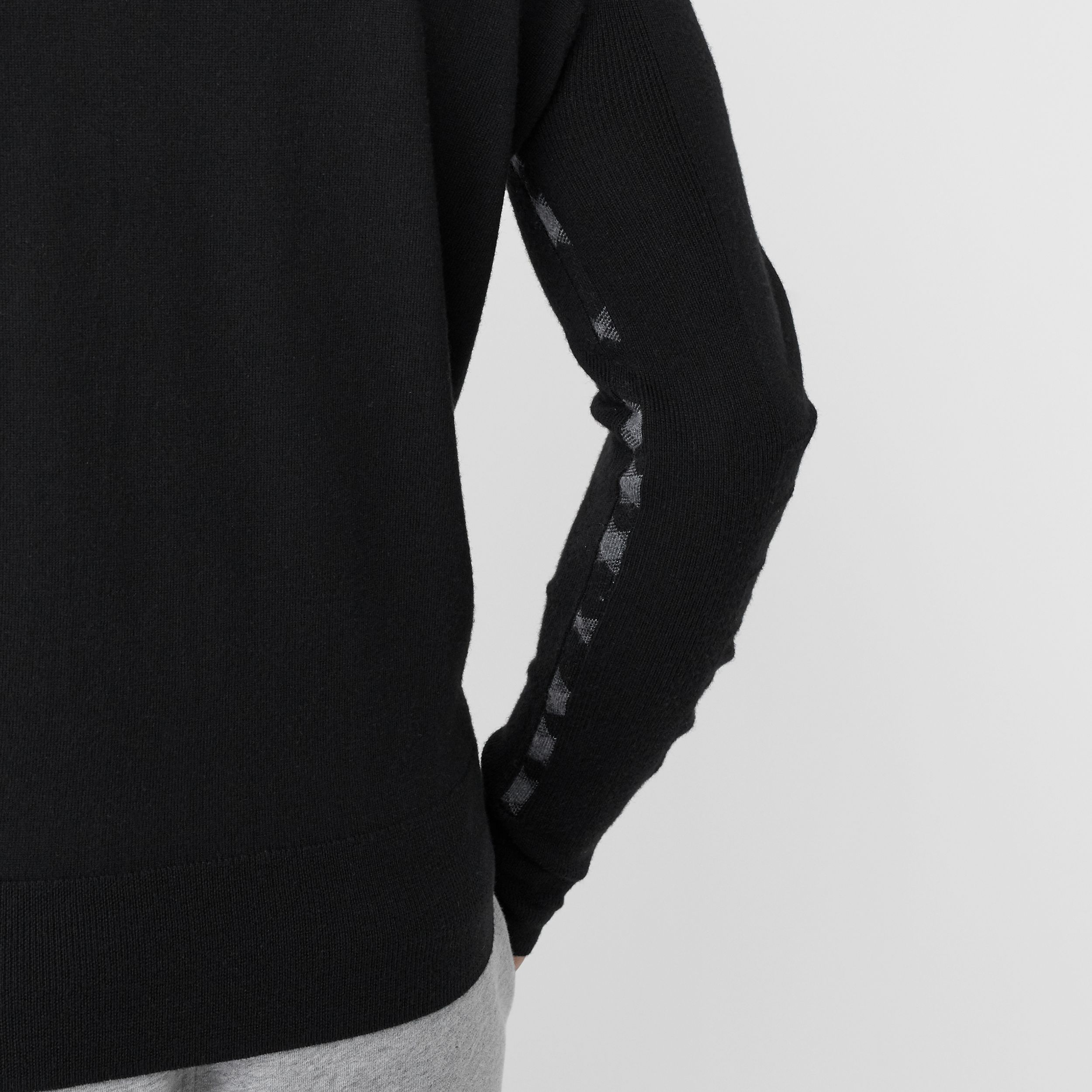 Check Detail Merino Wool Sweater in Black - Men | Burberry - 2