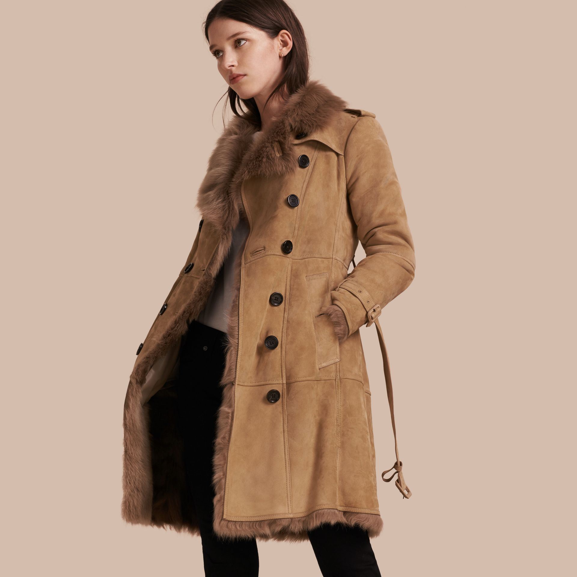 Camel Shearling Trench Coat - gallery image 1