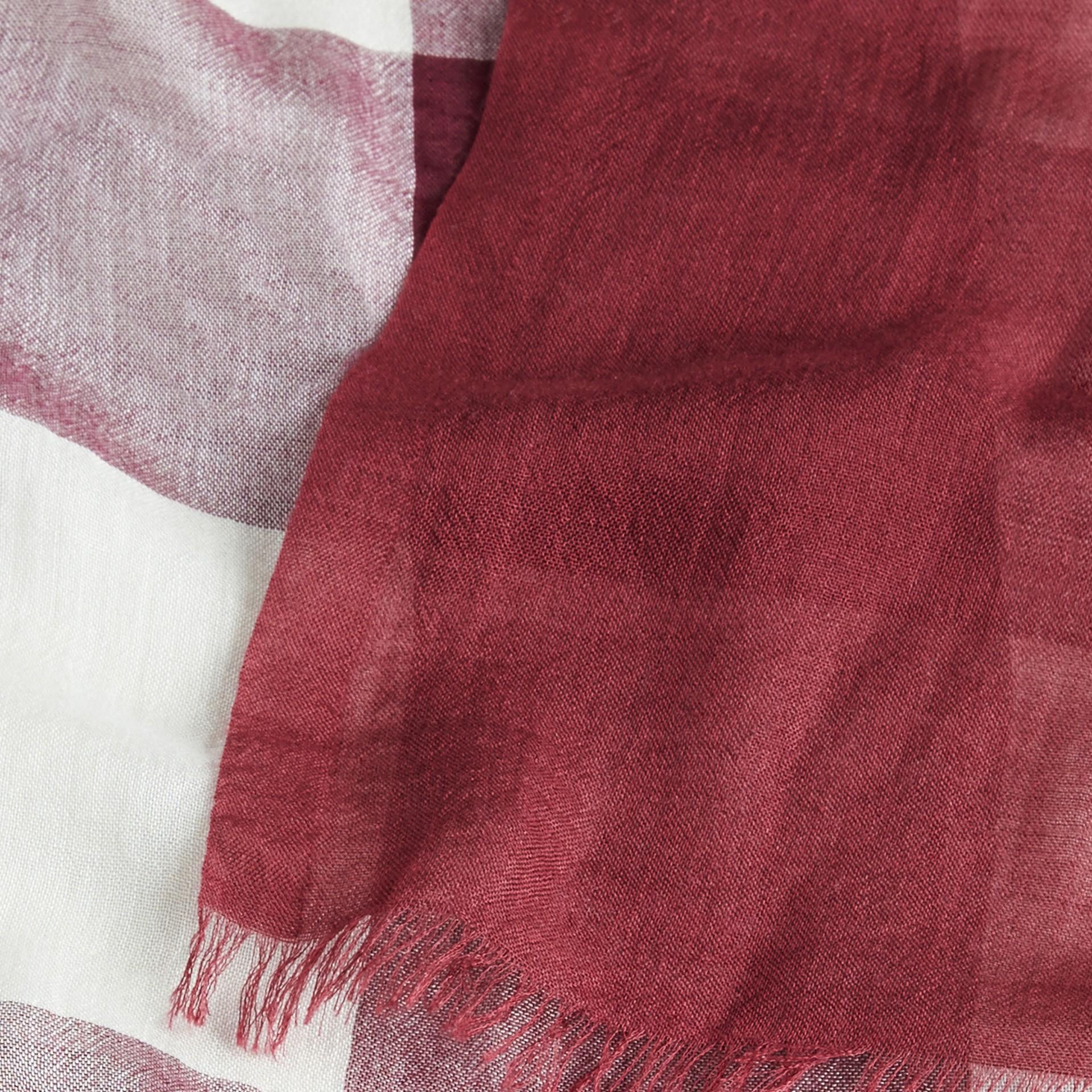 Garnet pink Check Modal Cashmere and Silk Scarf Garnet Pink - gallery image 2