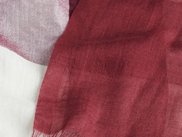 Garnet pink Check Modal Cashmere and Silk Scarf Garnet Pink - cell image 1