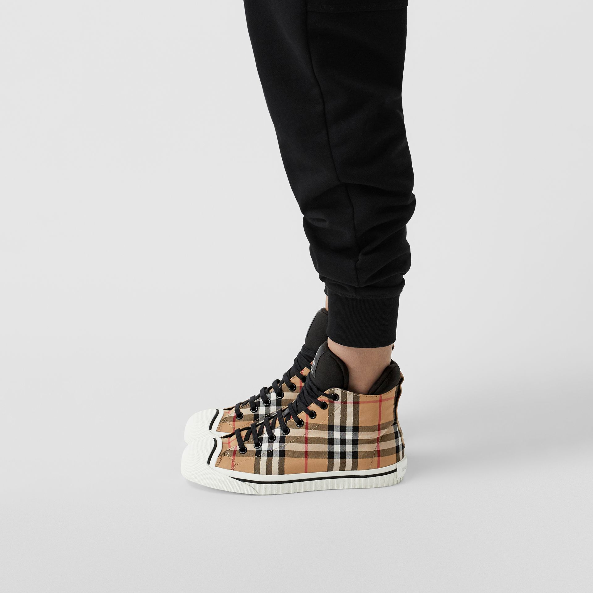 Vintage Check and Neoprene High-top Sneakers in Antique Yellow - Women | Burberry - gallery image 2