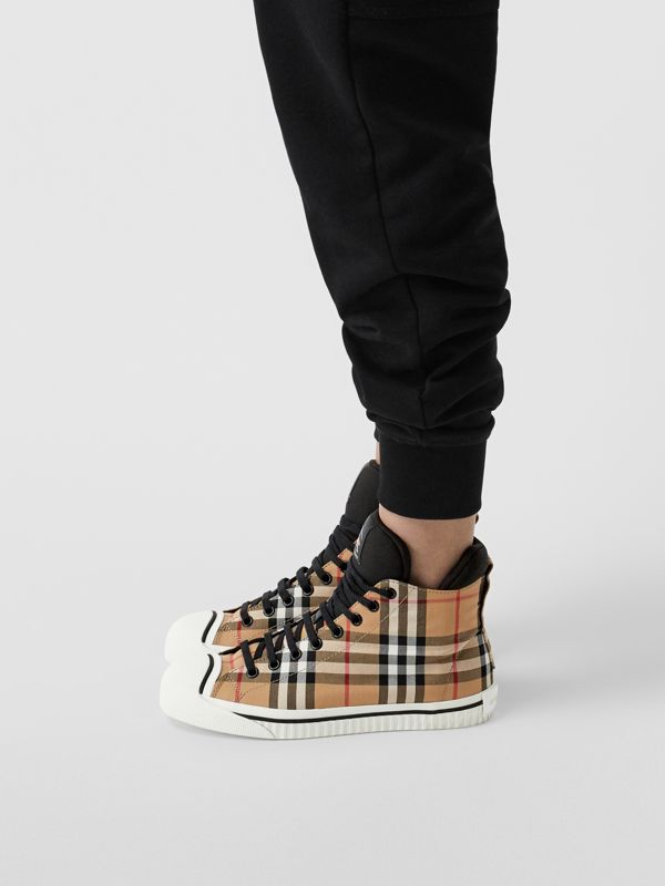 Vintage Check and Neoprene High-top Sneakers in Antique Yellow - Women | Burberry - cell image 2