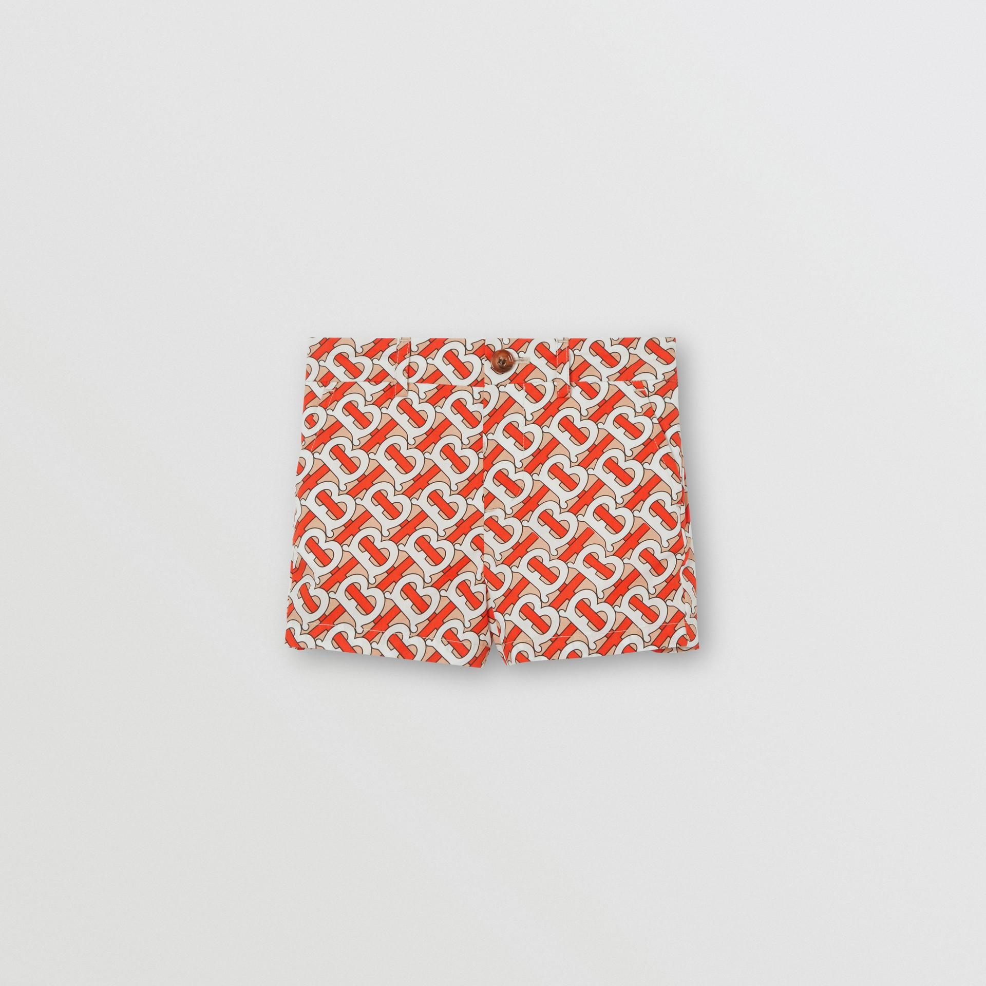 Monogram Print Cotton Poplin Shorts in Vermilion Red - Children | Burberry - gallery image 0