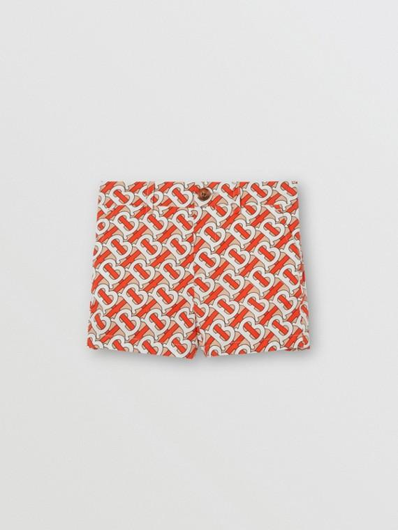 Monogram Print Cotton Poplin Shorts in Vermilion Red