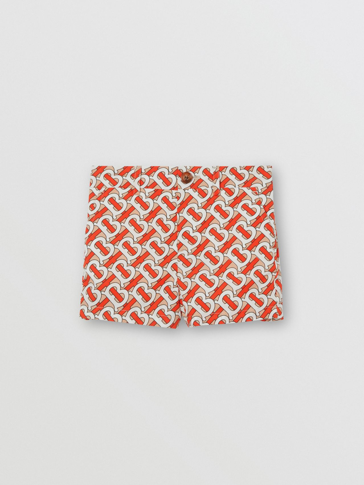 Monogram Print Cotton Poplin Shorts in Vermilion Red