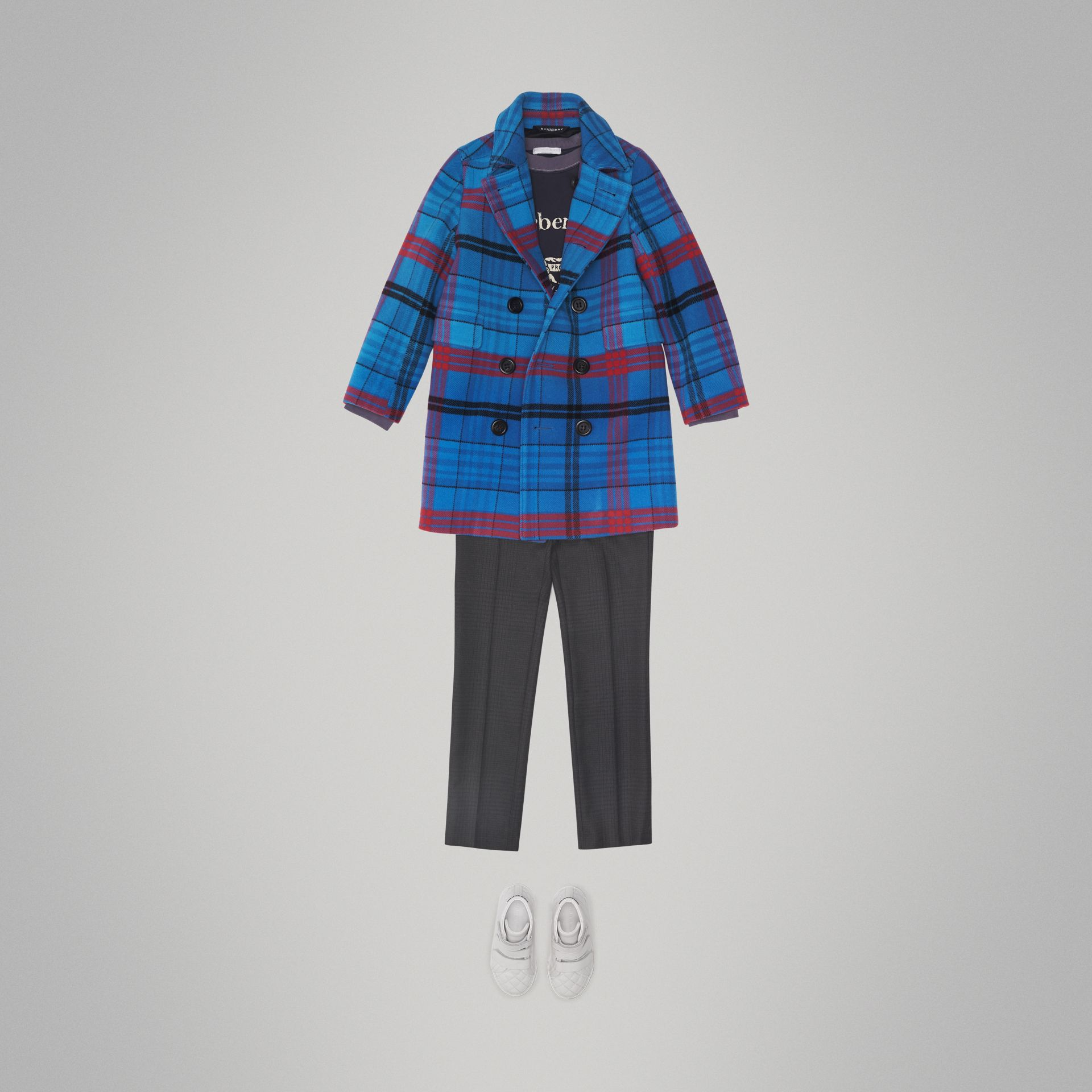 Check Wool Tailored Coat in Mineral Blue - Children | Burberry - gallery image 2
