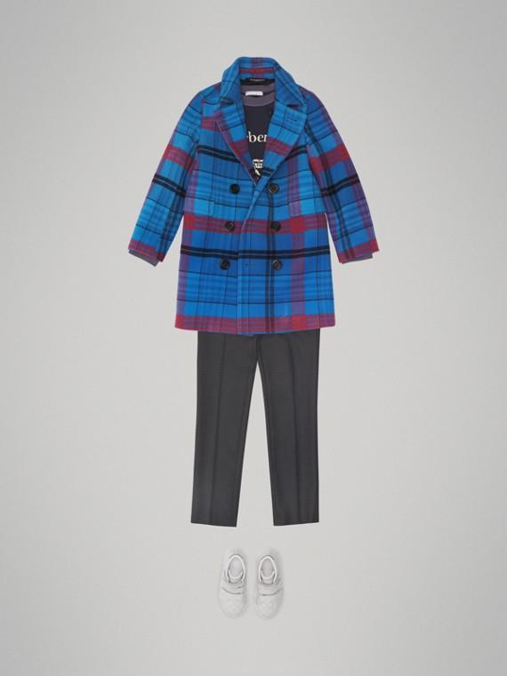 Casaco de alfaiataria de lã em xadrez (Azul Mineral)