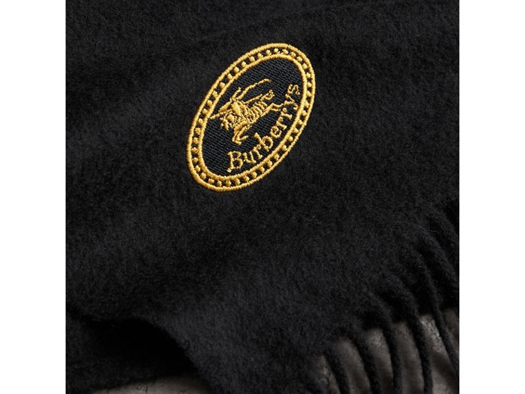 The Burberry Bandana in Embroidered Cashmere in Black | Burberry - cell image 1