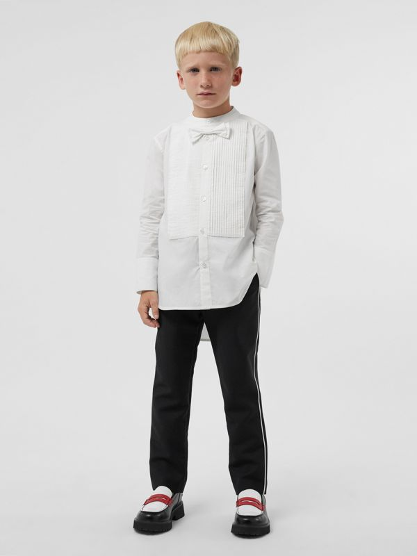 Bow Tie Detail Stretch Cotton Poplin Shirt in White | Burberry - cell image 2