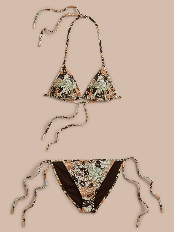 Bikini triangle à imprimé Bestiaire (Rose Taupe Antique)