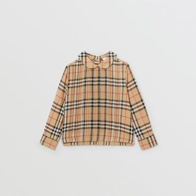 Pintuck Detail Vintage Check Cotton Twill Blouse in Archive Beige | Burberry