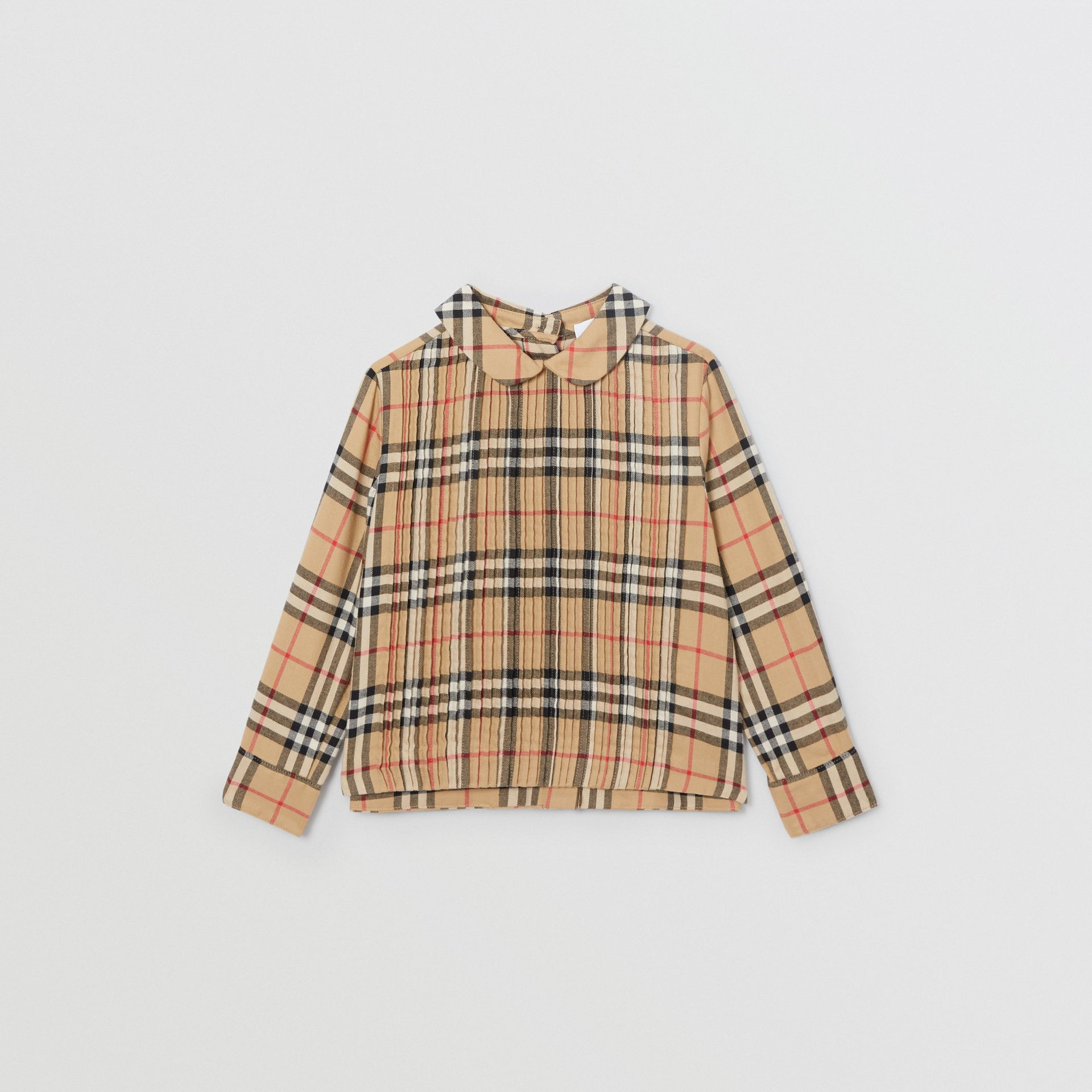 Pintuck Detail Vintage Check Cotton Twill Blouse in Archive Beige | Burberry - gallery image 0